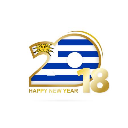 bandera de uruguay: Año 2018 con el patrón de la bandera de Uruguay. Feliz año nuevo diseño. Ilustración vectorial Vectores