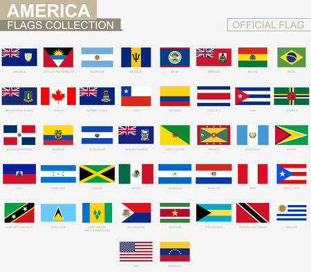 National flag of American countries, official vector flags collection. Imagens - 87739563