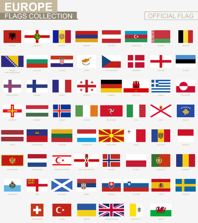 National flag of European countries, official vector flags collection.