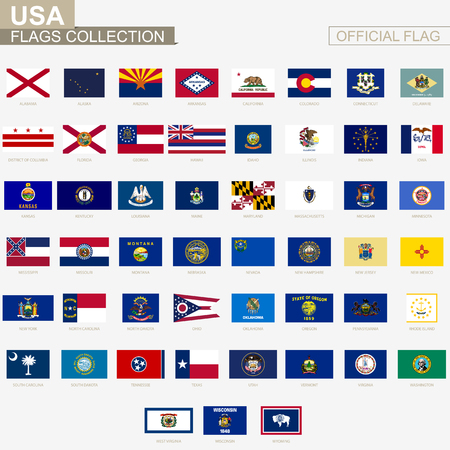 State flags of United States of America, official vector flags collection. 版權商用圖片 - 87739564