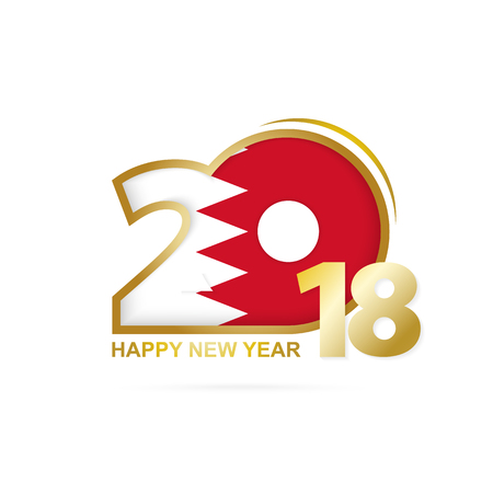 Year 2018 with Bahrain Flag pattern. Happy New Year Design. Vector Illustration.