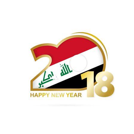 iraq: Year 2018 with Iraq Flag pattern. Happy New Year Design. Vector Illustration.