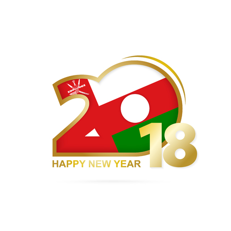 Year 2018 with Oman Flag pattern. Happy New Year Design. Vector Illustration. Illustration