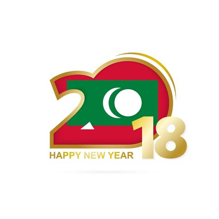Year 2018 with Maldives Flag pattern. Happy New Year Design. Vector Illustration.