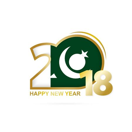 flag of pakistan: Year 2018 with Pakistan Flag pattern. Happy New Year Design. Vector Illustration. Illustration