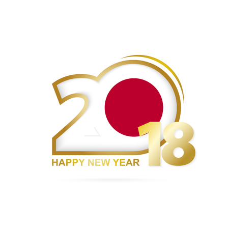 Year 2018 with Japan Flag pattern. Happy New Year Design. Vector Illustration.  イラスト・ベクター素材