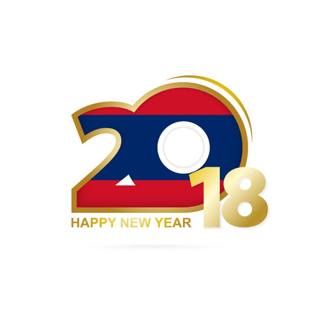 Year 2018 with Laos Flag pattern. Happy New Year Design. Vector Illustration.