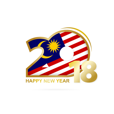 Year 2018 with Malaysia Flag pattern. Happy New Year Design. Vector Illustration. Illustration