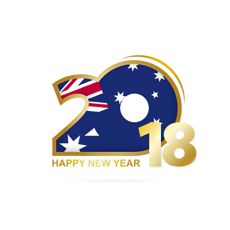 Year 2018 with Australia Flag pattern. Happy New Year Design. Vector Illustration.