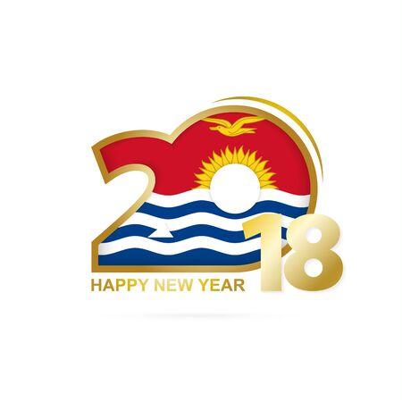 Year 2018 with Kiribati Flag pattern. Happy New Year Design. Vector Illustration. Illustration
