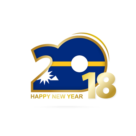 Year 2018 with Nauru Flag pattern. Happy New Year Design. Vector Illustration. Illustration