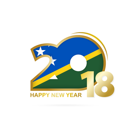 Year 2018 with Solomon Islands Flag pattern. Happy New Year Design. Vector Illustration. Illustration