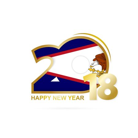 Year 2018 with American Samoa Flag pattern. Happy New Year Design. Vector Illustration.