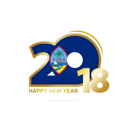 Year 2018 with Guam Flag pattern. Happy New Year Design. Vector Illustration.