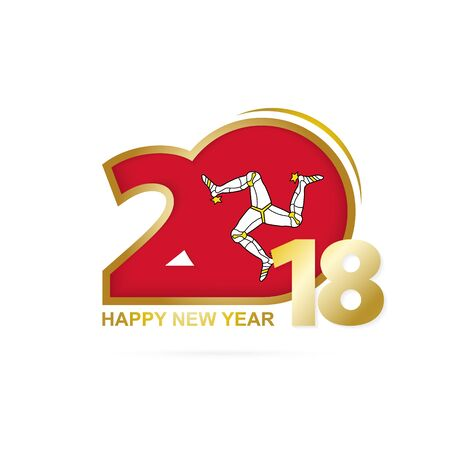Year 2018 with Isle of Man Flag pattern. Happy New Year Design. Vector Illustration.