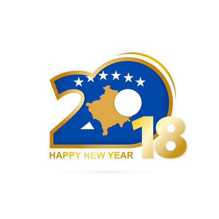 Year 2018 with Kosovo Flag pattern. Happy New Year Design. Vector Illustration.