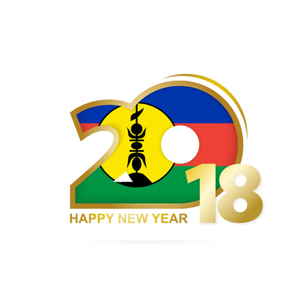 Year 2018 with New Caledonia Flag pattern. Happy New Year Design. Vector Illustration.