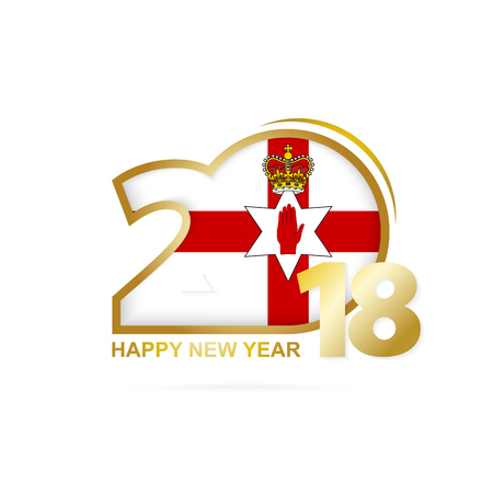 Year 2018 with Northern Ireland Flag pattern. Happy New Year Design. Vector Illustration. Illustration