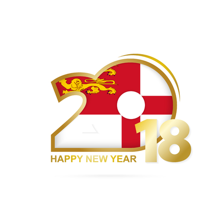 Year 2018 with Sark Flag pattern. Happy New Year Design. Vector Illustration.