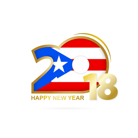 Year 2018 with Puerto Rico Flag pattern. Happy New Year Design. Vector Illustration.