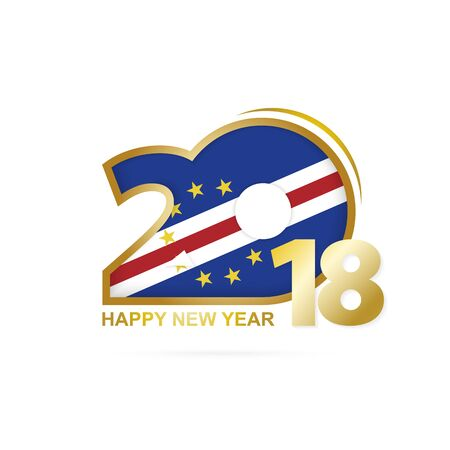 Year 2018 with Cape Verde Flag pattern. Happy New Year Design. Vector Illustration.