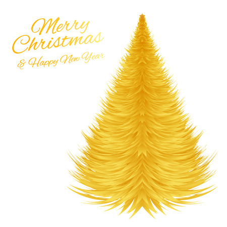Golden Christmas tree. Vector greeting card for Christmas and New Year.
