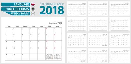 Planer kalendarza ściennego na 2018. Język angielski, tydzień rozpoczyna się od poniedziałku. Szablon wektor.