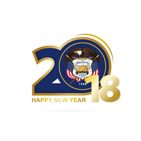 Year 2018 with Utah Flag pattern