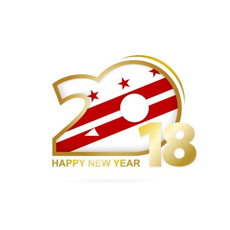 Year 2018 with District of Columbia Flag pattern