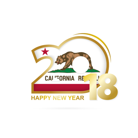 Year 2018 With California Flag Pattern Happy New Design Vector Illustration