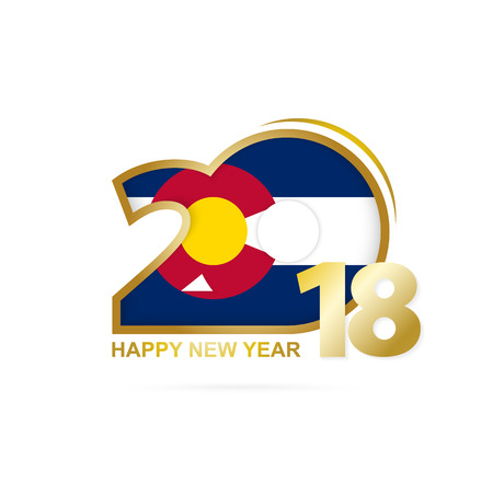 Year 2018 with Colorado Flag pattern. Happy New Year Design. Vector Illustration.