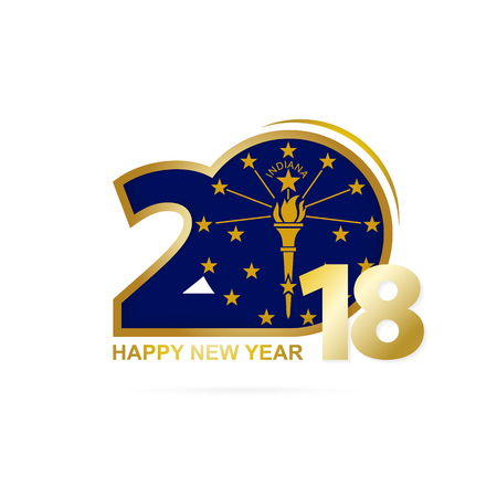 Year 2018 with Indiana Flag pattern. Happy New Year Design. Vector Illustration.