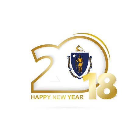 Year 2018 with Massachusetts Flag pattern Illustration