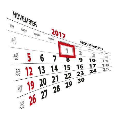 November 1, highlighted on 2017 calendar. Week starts from Sunday. Vector Illustration.