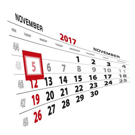 November 5, highlighted on 2017 calendar. Week starts from Sunday. Vector Illustration. Illustration