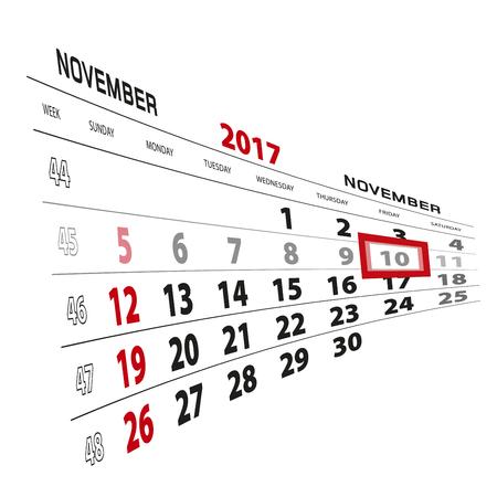 November 10, highlighted on 2017 calendar. Week starts from Sunday. Vector Illustration. Illustration
