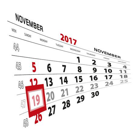 November 19, highlighted on 2017 calendar. Week starts from Sunday. Vector Illustration.