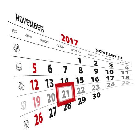 November 21, highlighted on 2017 calendar. Week starts from Sunday. Vector Illustration. Illustration