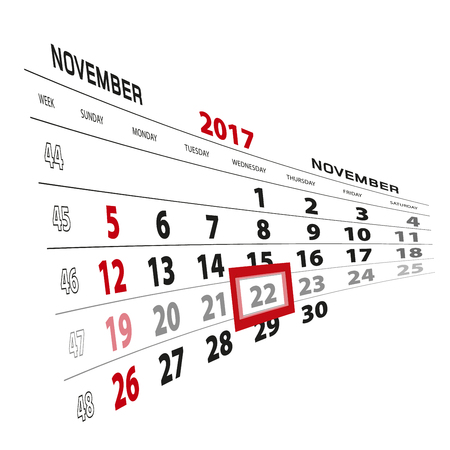 November 22, highlighted on 2017 calendar. Week starts from Sunday. Vector Illustration. Illustration