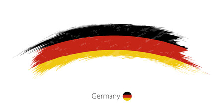 Flag of Germany in rounded grunge brush stroke. Vector illustration.