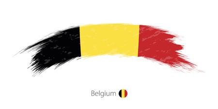 Flag of Belgium in rounded grunge brush stroke. Vector illustration.