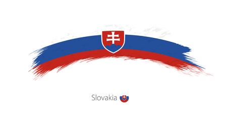 Flag of Slovakia in rounded grunge brush stroke. Vector illustration.