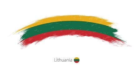 Flag of Lithuania in rounded grunge brush stroke. Vector illustration. Çizim