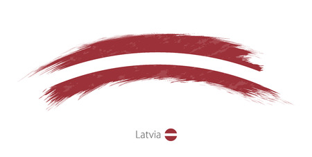 Flag of Latvia in rounded grunge brush stroke. Vector illustration.