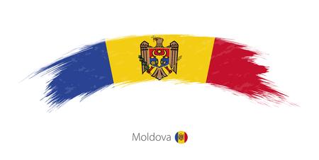 Bandera de Moldavia en el trazo de pincel redondeado grunge. Ilustración vectorial