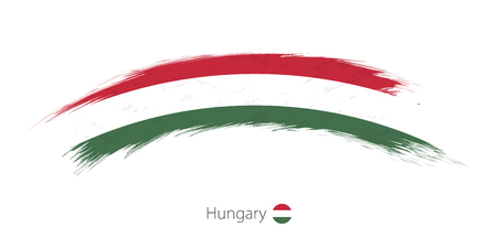 Flag of Hungary in rounded grunge brush stroke. Vector illustration. Çizim