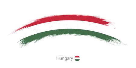 Flag of Hungary in rounded grunge brush stroke. Vector illustration. Stock Illustratie