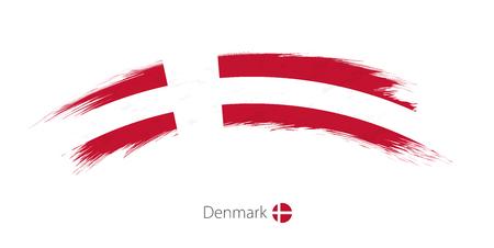 danish flag: Flag of Denmark in rounded grunge brush stroke. Vector illustration. Illustration