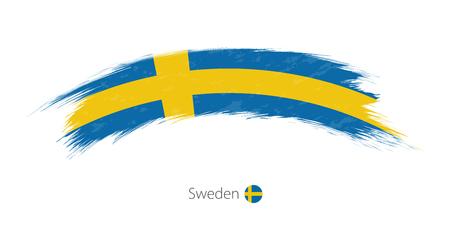 Flag of Sweden in rounded grunge brush stroke. Vector illustration.