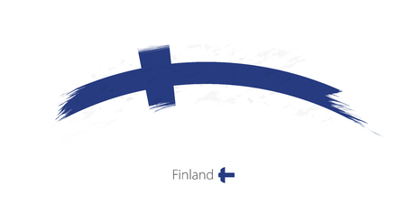 Flag of Finland in rounded grunge brush stroke. Vector illustration.